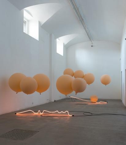 Sam Falls, Exhibition view: Fondazione Giulinai, Rome, 2015. Photo: Giorgio Benni