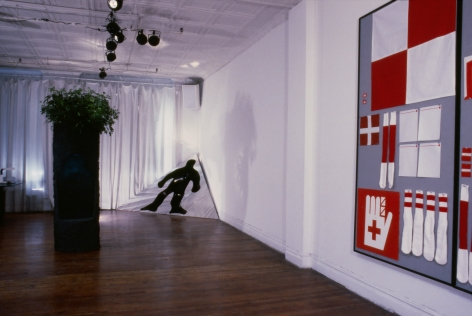 Installation view, Vito Acconci, Nancy Dwyer, Matt Mullican