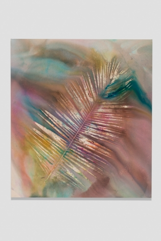 Sam Falls, Untitled (Venice, Palm 5), 2014, Dye on canvas, 81 x 72 inches