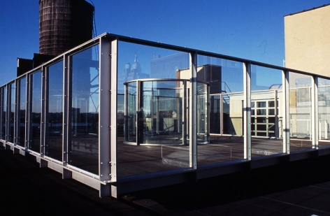 Dan Graham, Two Way Mirror Cylinder Inside Cube and Video Lounge, 1981