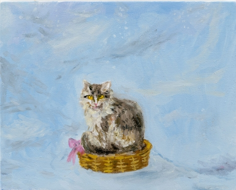Karen Kilimnik, the cat sitting in its favorite basket out in the blizzard, the Himalaya
