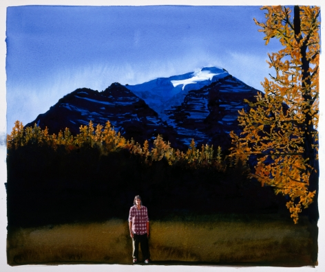 Tim Gardner, Untitled (Self portrait with larch trees & Mt. Temple), 1999