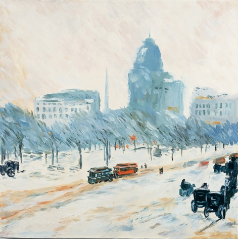 Karen Kilimnik, Old New York, Winter in Union Square, 1892, Childe Hassam, 2002