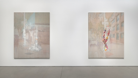 Esteban Jefferson,We Love You Devra Freelander, 2021. Oil on linen, diptych. 66 x 84 inches each., Commissioned by The Shed. Photo: Ronald Amstutz.