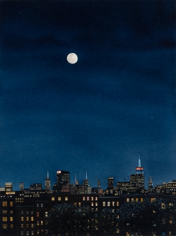 Tim Gardner, City at Night with Full Moon , 2018