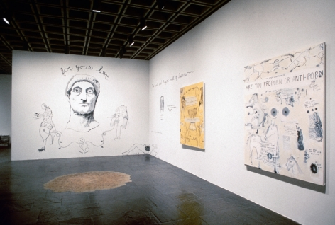 Sue Williams, Installation view: 1993 Biennial Exhibition, Whitney Museum of American Art, New York