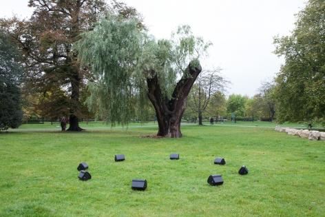 Kristin Oppenheim, Where Did You Sleep Last Night?, 2013, Frieze Sculpture Park 2014