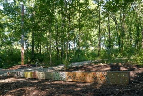 Installation view: Sam Falls, 2019,Laumeier Sculpture Park,St. Louis, MO, courtesyLaumeier Sculpture Park