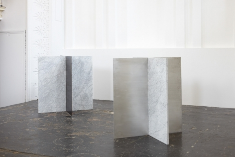 Sam Falls, Untitled (Carrera marble, corten steel & aluminum sculpture diptych), 2013