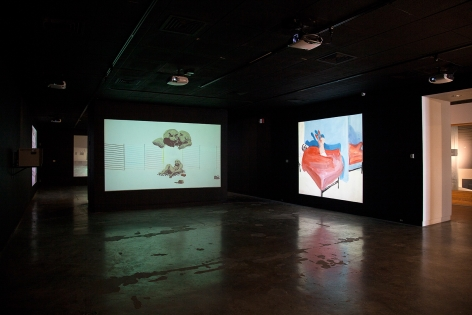 Installation view: Catherine Doctorow Prize for Contemporary Painting: Tala Madani, Utah Museum of Contemporary Art, 2013