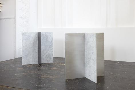 Sam Falls, Untitled (Carrera marble, corten steel & aluminum sculpture diptych), 2013