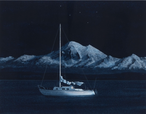 Tim Gardner, Sailboat in Moonlight with Mt. Baker and Cassiopeia, 2015