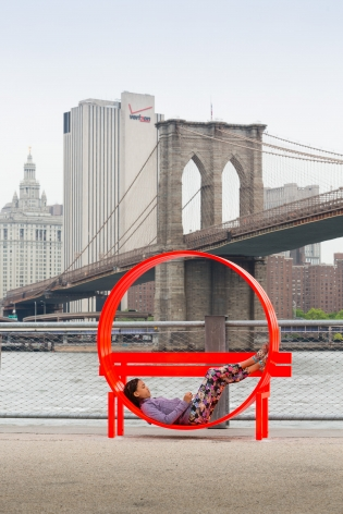 Jeppe Hein, Modified Social Bench NY #5, 2015, Installation view: Please Touch The Art, Brooklyn Bridge Park, 2015-16