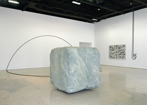 """Valentin Carron, The dirty grey cube (you) turns around sadly and screams at us (he) """"ca-tarac-ta"""", Installation at 303 Gallery, New York, 2012"""