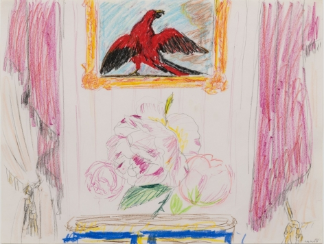 Karen Kilimnik, the home of the red falcon, or maybe red parrot, 1984