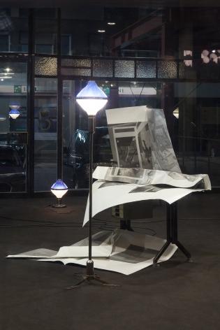 Nick Mauss, Installation view: Illuminated Window, La Triennale di Milano, 2017, Torre Velasca