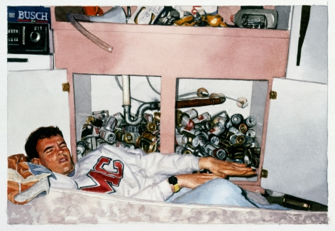 Tim Gardner, Untitled (Nick Posing with Cans Under Sink), 2000