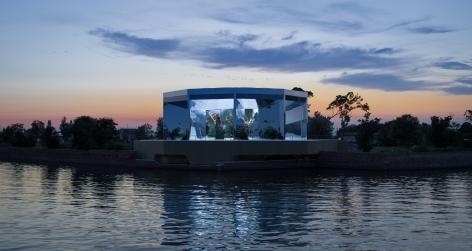 Doug Aitken, Green Lens, 2021, Installation view:Isola Della Certosa, Venice, Italy, 2021