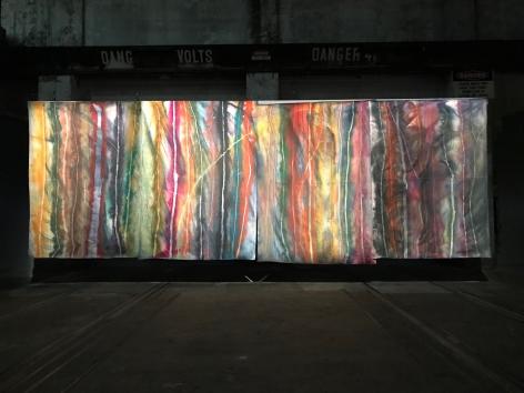 Sam Falls, Exhibition view: 21st Sydney Biennial, Carriageworks, Sydney, 2018