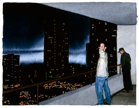 Tim Gardner, Untitled (Pissing off balcony, Vancouver), 1999