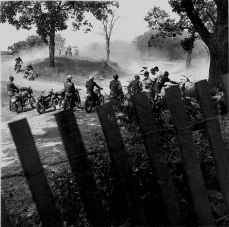 DANNY LYON (American: born 1942), Scrambles Track, McHenry, Illinois, from The Bikeriders (1965) Vintage gelatin silver print