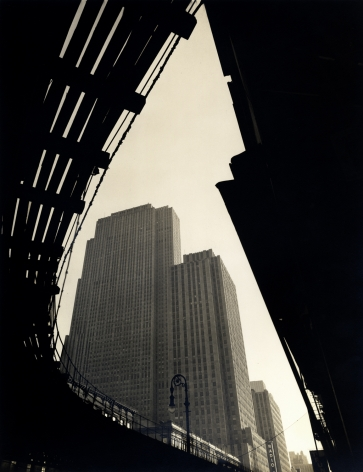 Wendell MacRae Rockefeller Center as seen from below the 6th Ave El circa 1936