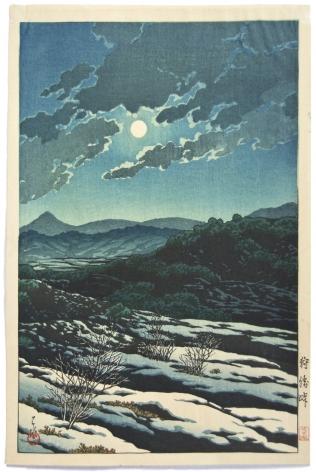 Kawase Hasui Kanrichi Mountain Pass in Moonlight, circa 1927