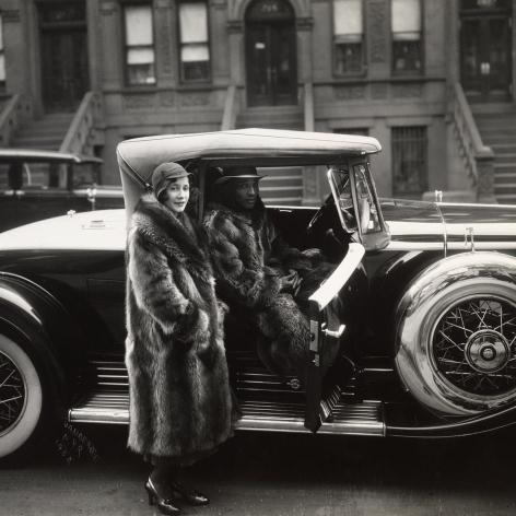 James Van Der Zee Couple in fur coats and V-16 was Cadillac, Harlem, 1932