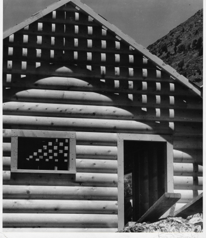 HENRY SWIFT (American: 1891 – 1962), Cabin, Tioga Pass, California (c.1935) Vintage gelatin silver print 8-15/16 x 7-7/16 inches (print size) 9-3/8 x 7-7/8 inches (mount size)