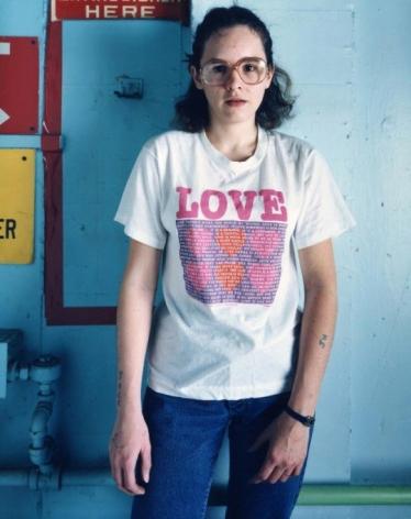 Bruce Wrighton Woman with love tee and tattoo Binhamton, NY, 1987