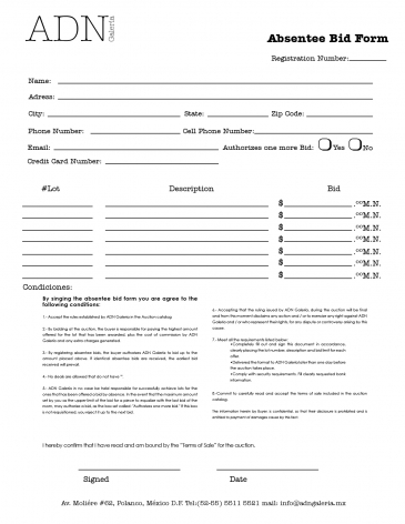 Auction Absentee Bid Form