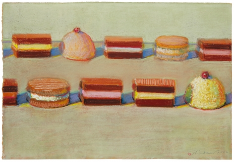 Wayne Thiebaud, Ten Candies, 2000, pastel on paper, 11 x 16 inches (27.9 x 40.6 cm),                     Art © Wayne Thiebaud / Licensed by VAGA, New York, NY