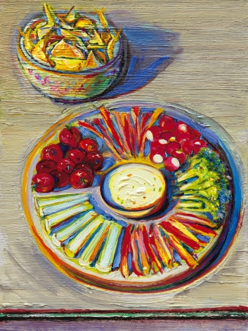 Wayne Thiebaud, Vegetables & Chips, 2010-2014, oil on board, 16 x 12 inches (40.6 x 30.5 cm), Art © Wayne Thiebaud / Licensed by VAGA, New York, NY