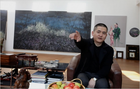 The artist Zeng Fanzhi in his studio in Beijing.