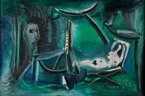 Pablo Picasso Le peintre et son modèle dans un paysage,1963