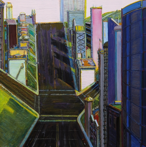 Wayne Thiebaud, Intersection Buildings, 2000-2014, oil on canvas, 48 x 48 inches (121.9 x 121.9 cm), Art © Wayne Thiebaud / Licensed by VAGA, New York, NY