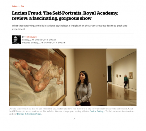 """Hettie Judah, """"Lucian Freud: The Self-Portraits, Royal Academy, review: a fascinating, gorgeous show"""""""