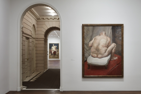 Installation view of Lucian Freud: Monumental at Acquavella Galleries from April 5 – May 24, 2019.