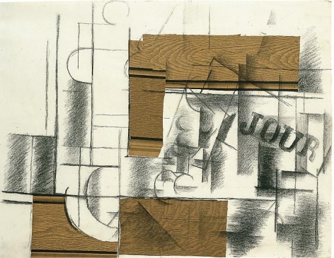 Georges Braque, Glass, Bottle and Newspaper, 1912