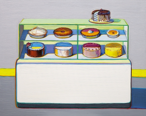 Wayne Thiebaud, Cold Case, 2010/2011/2013, oil on canvas, 48 x 60 inches (121.9 x 152.4 cm),          Art © Wayne Thiebaud / Licensed by VAGA, New York, NY