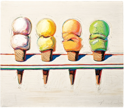 Wayne Thiebaud, Four Ice Cream Cones, 1964