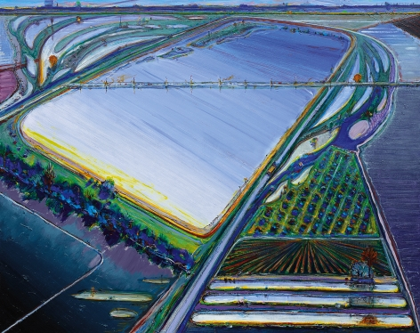 Wayne Thiebaud, Flood Waters, 2006/2013, oil on canvas, 48 x 60 inches (121.9 x 152.4 cm),         Art © Wayne Thiebaud / Licensed by VAGA, New York, NY