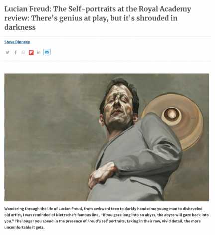 "Steve Dinneen, ""Lucian Freud: The Self-Portraits at the Royal Academy review: There's genius at play, but it's shrouded in darkness"""