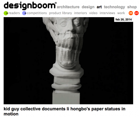 designboom I kid guy collective documents li hongbo's paper statues in motion