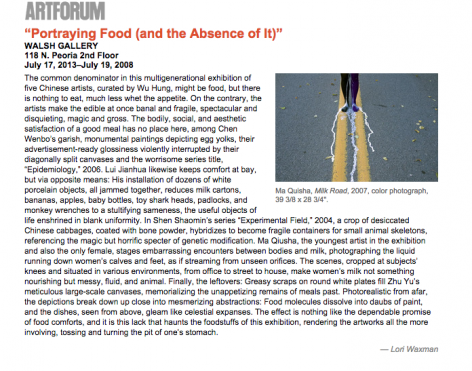 "Artforum I ""Portraying Food (and the Absence of It)"""