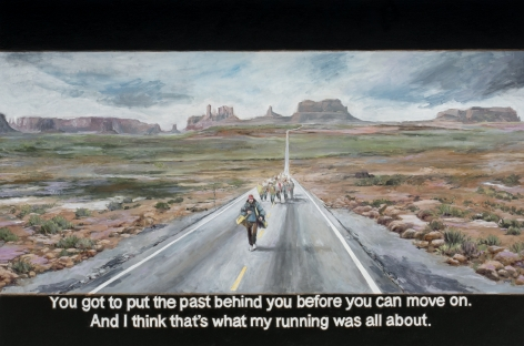 Chow_Chun_Fai_Forrest_Gump_You_got_to_put_the_past_behind_you_before_you_can_move_on_And_I_think_that's_what_my_running_was_all_about_Oil_on_canvas_100x150cm_2018