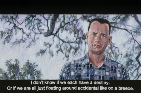 Chow_Chun_Fai_Forrest_Gump_I_don't_know_if_we_each_have_a_destiny_or_if_we_are_all_just_floating_around_accidental_like_on_a_breeze_Acrylic_on_canvas_100x150cm_2018