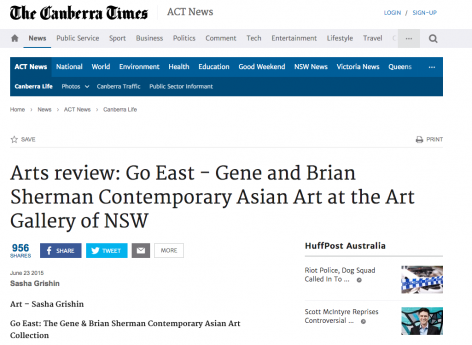 The Canberra Times Arts review | Go East - Gene and Brian Sherman Contemporary Asian Art at the Art Gallery of NSW