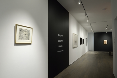 BASQUIAT, DUBUFFET, PICASSO: Works on Paper, Installation view at Van de Weghe, New York