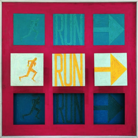Sol LeWitt, Run I, 1962. Oil on canvas, painted wood, 61 x 61 x 8 1/4 inches. © The LeWitt Estate / Artists Rights Society (ARS), New York.